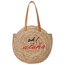 Buy WHISTLES Aloha Straw Round Tote Bag, Neutral Online at johnlewis.com