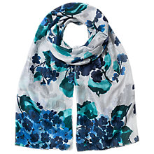 Buy East Hydrangea Print Silk Scarf, Blue Online at johnlewis.com