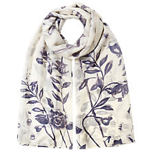 Buy East Delphine Bird Print Silk Scarf, Dove Online at johnlewis.com
