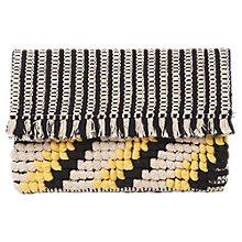 Buy Whistles Woven Fringed Clutch Bag, Black Online at johnlewis.com