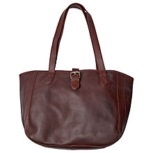 Buy Fat Face Small Buckle Oiled Leather Tote Bag, Chocolate Online at johnlewis.com