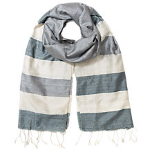 Buy East Natural Silk Border Scarf, Dove Online at johnlewis.com