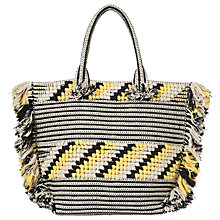 Buy Whistles Manzoni Woven Fringe Tote Bag, Black Online at johnlewis.com