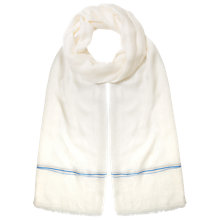 Buy East Plain Thin Border Scarf, Cream Online at johnlewis.com
