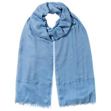Buy East Thin Border Scarf, Cornflower Online at johnlewis.com