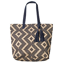 Buy Fat Face Tia Hessian Weave Shopper Bag, Navy Online at johnlewis.com
