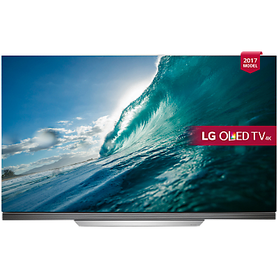 LG OLED65E7V OLED HDR 4K Ultra HD Smart TV, 65 with Freeview Play, Picture-On-Glass Design & Dolby Atmos Sound Bar Stand, Silver