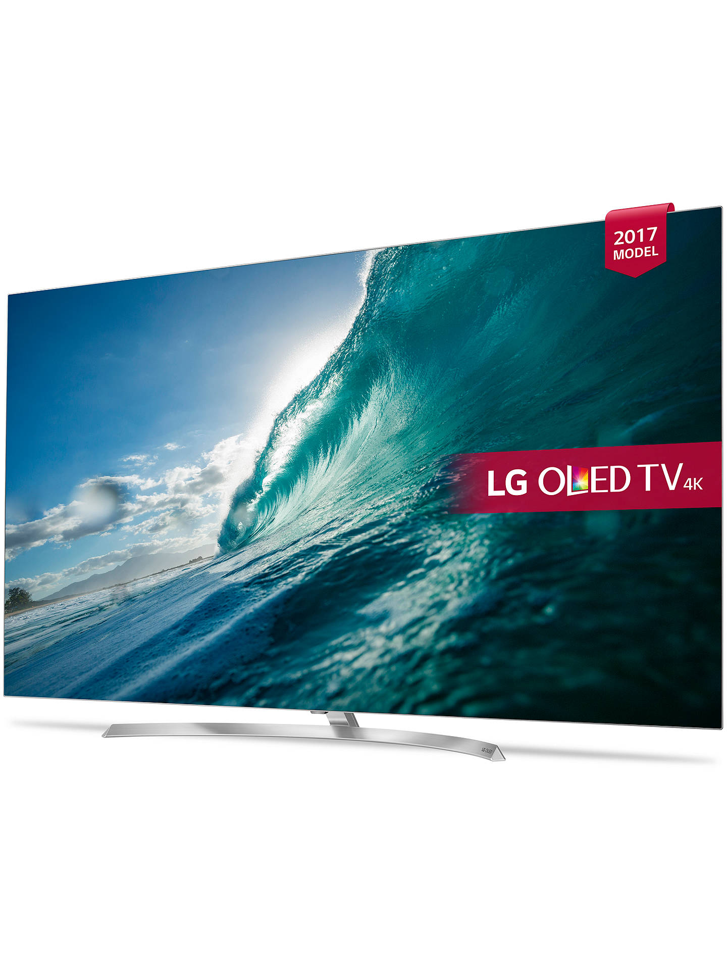"BuyLG OLED55B7V OLED HDR 4K Ultra HD Smart TV, 55"" with Freeview Play, Dolby Atmos, Picture-On-Metal Design & Crescent Stand, Silver Online at johnlewis.com"