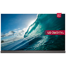 "Buy LG OLED65G7V Signature OLED HDR 4K Ultra HD Smart TV, 65"" with Freeview Play, Picture-On-Glass Design & Foldable Dolby Atmos Sound Bar Stand, Gold Online at johnlewis.com"