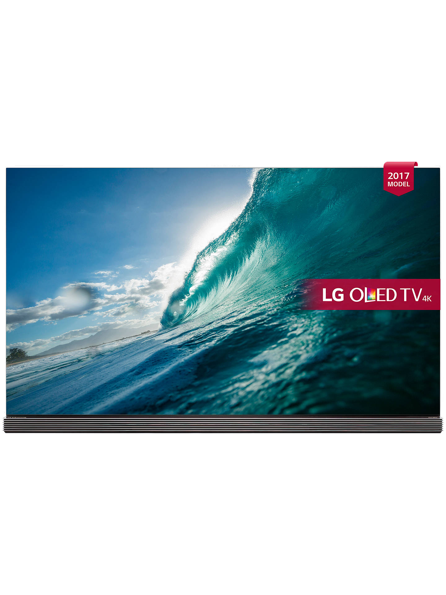 "BuyLG OLED65G7V Signature OLED HDR 4K Ultra HD Smart TV, 65"" with Freeview Play, Picture-On-Glass Design & Foldable Dolby Atmos Sound Bar Stand, Gold Online at johnlewis.com"