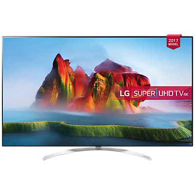LG 65SJ850V LED HDR Super UHD 4K Ultra HD Smart TV, 65 with Freeview Play, Ultra Slim Design, Harman / Kardon Sound & Crescent Stand, Silver