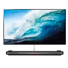 "Buy LG OLED65W7V Signature OLED HDR 4K Ultra HD Smart TV, 65"" with Freeview Play, Picture-On-Wall Design & Dolby Atmos Sound Base Unit, Black & Titanium Online at johnlewis.com"