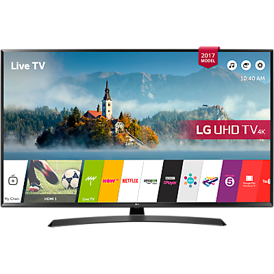 LG 49UJ635V LED HDR 4K Ultra HD Smart TV, 49 with Freeview Play & Crescent Stand, Black