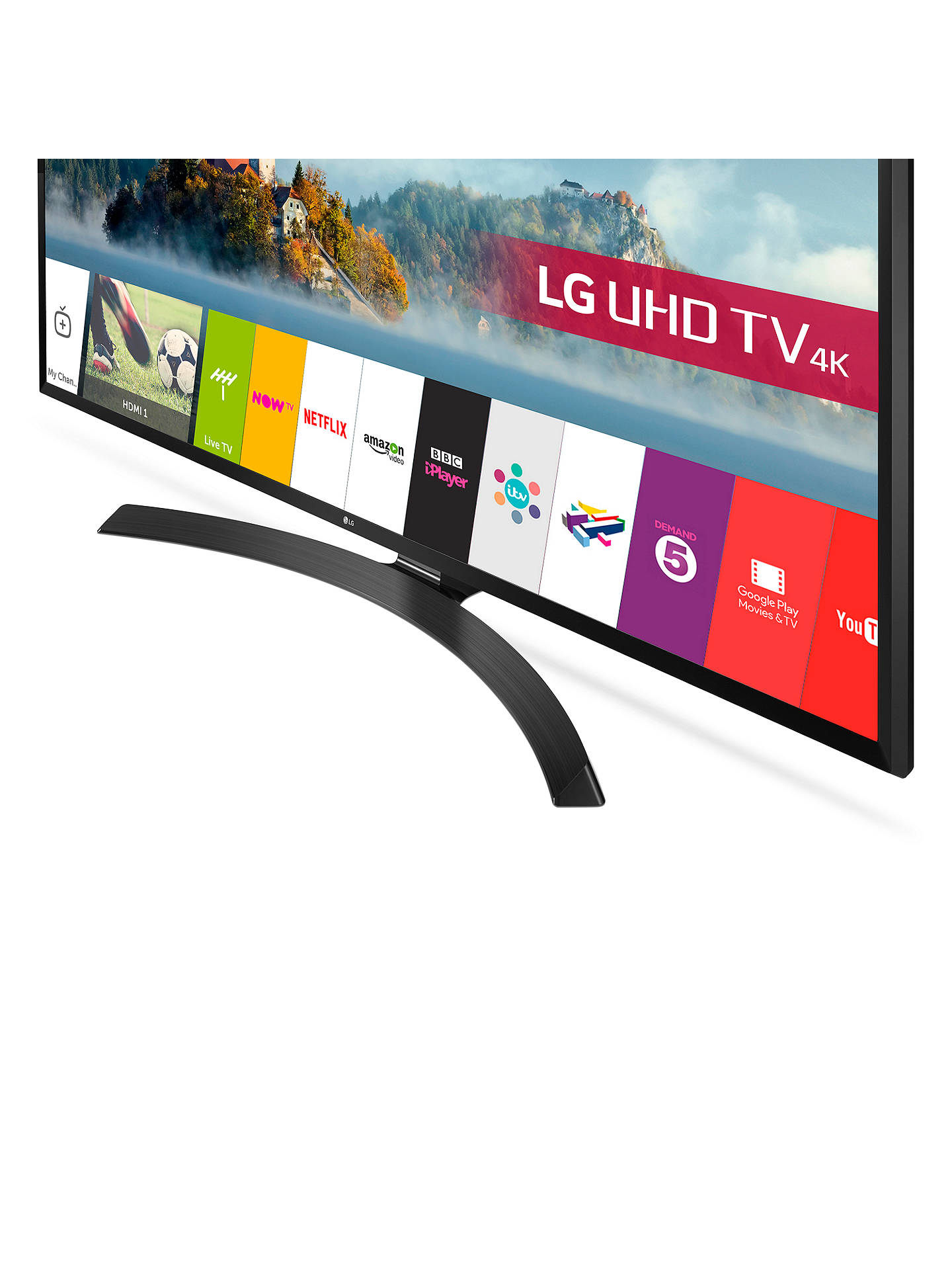 "BuyLG 49UJ635V LED HDR 4K Ultra HD Smart TV, 49"" with Freeview Play & Crescent Stand, Black Online at johnlewis.com"