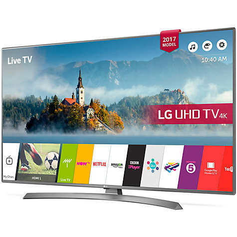 "Buy LG 49UJ670V LED HDR 4K Ultra HD Smart TV, 49"" with Freeview Play & Crescent Stand, Grey Online at johnlewis.com"