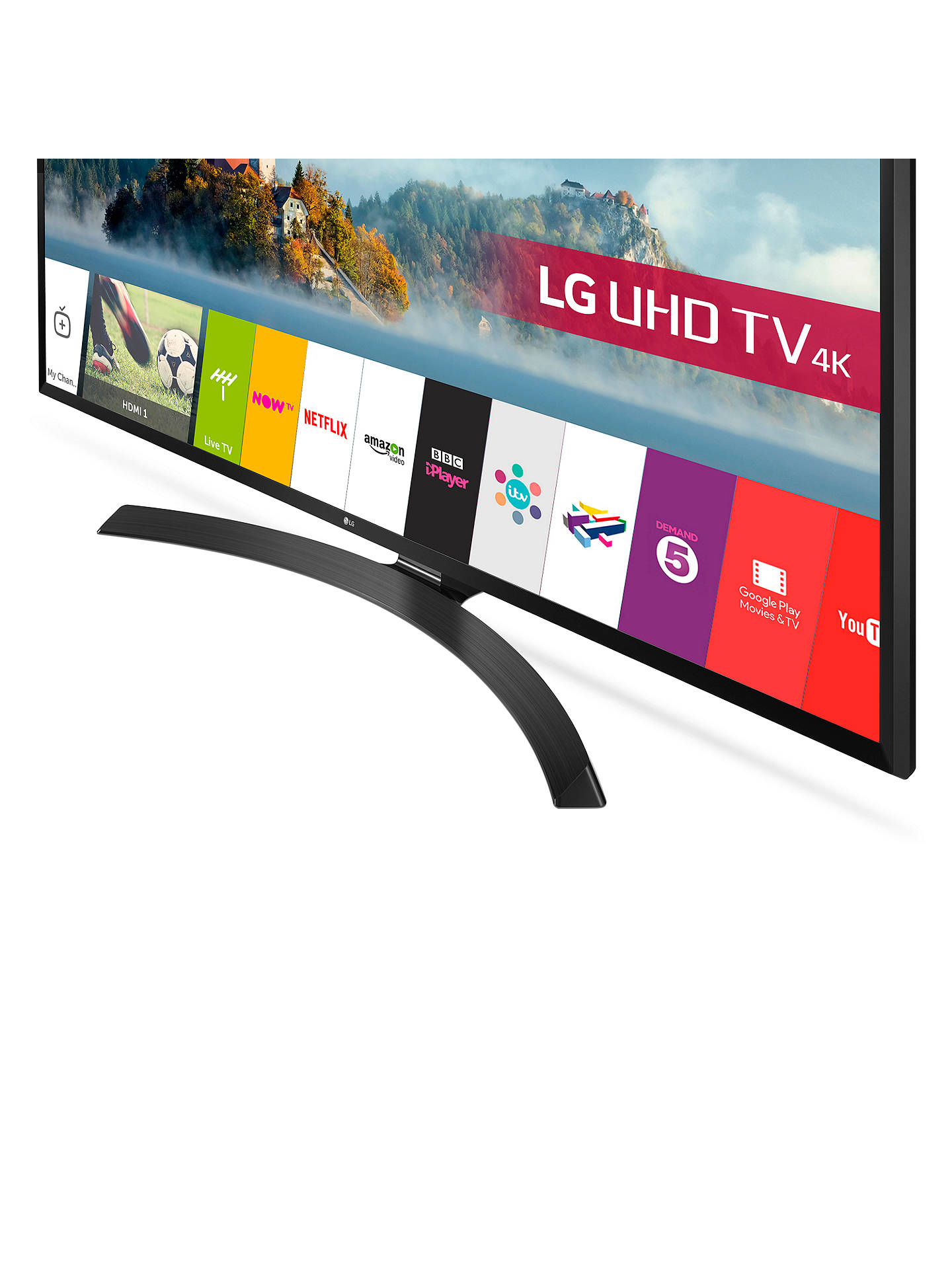 "BuyLG 55UJ635V LED HDR 4K Ultra HD Smart TV, 55"" with Freeview Play & Crescent Stand, Black Online at johnlewis.com"