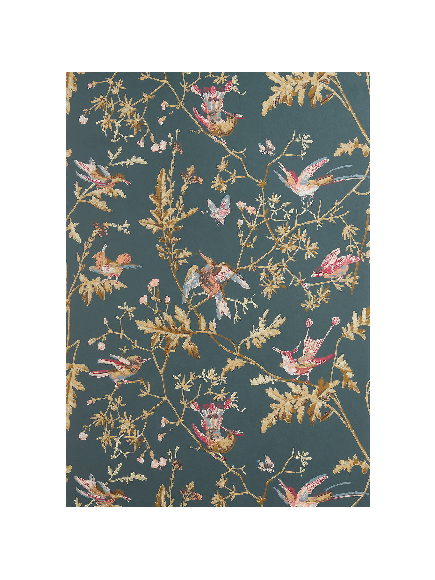 Cole Son Hummingbirds Wallpaper Viridian Magenta Khaki