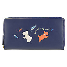 Buy Radley Birds Of A Feather Leather Zip Around Matinee Purse, Midnight Blue Online at johnlewis.com