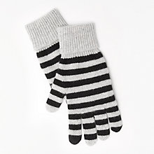 Buy John Lewis Striped Cashmere Gloves, Black/Grey Online at johnlewis.com