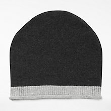 Buy John Lewis Tipped Cashmere Roll Beanie Hat, Charcoal/Soft Grey Online at johnlewis.com