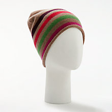 Buy John Lewis Striped Cashmere Roll Beanie Hat, Multi Online at johnlewis.com