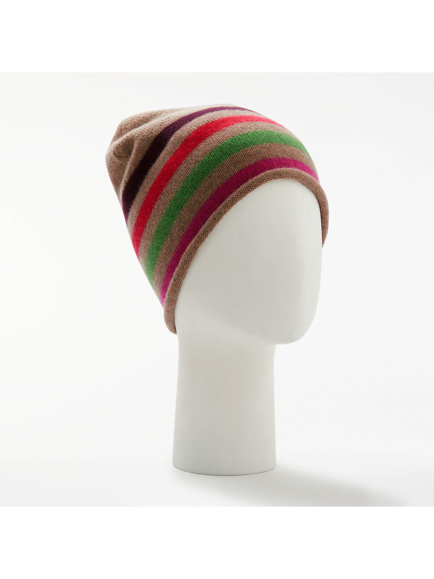 BuyJohn Lewis & Partners Striped Cashmere Roll Beanie Hat, Multi Online at johnlewis.com