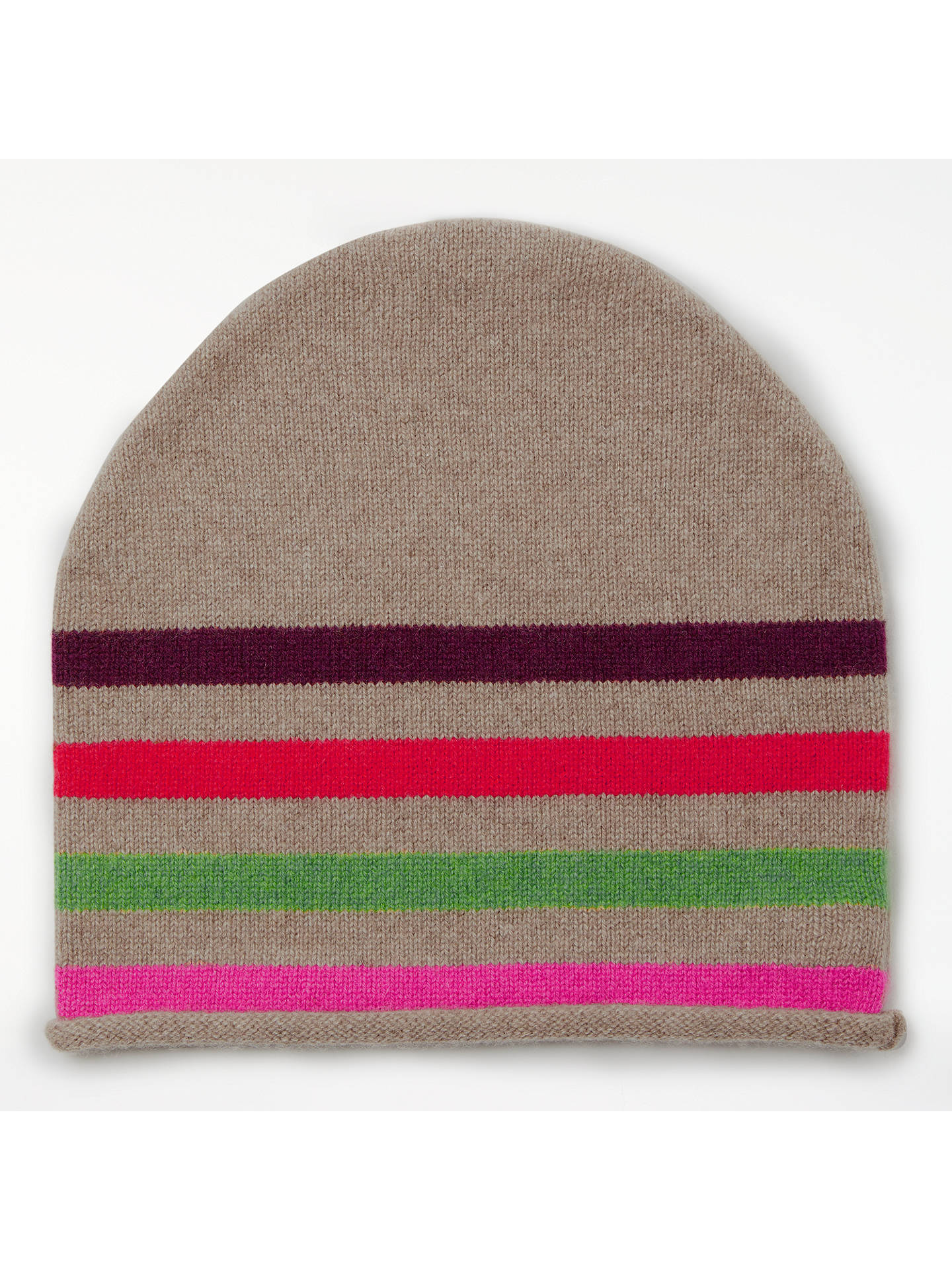 61085a4fe John Lewis & Partners Striped Cashmere Roll Beanie Hat, Multi at ...