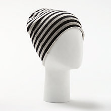 Buy John Lewis Striped Cashmere Roll Beanie Hat, Black/Grey Online at johnlewis.com