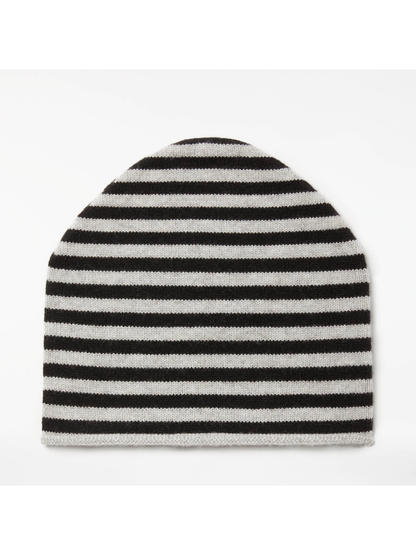24c1ea0ee John Lewis & Partners Striped Cashmere Roll Beanie Hat, Black/Grey ...