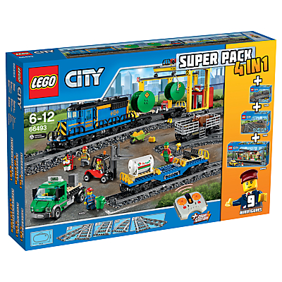 LEGO City 66493 Remote Control Cargo Train, Station, Tracks and Power Functions 4 in 1 Super Pack