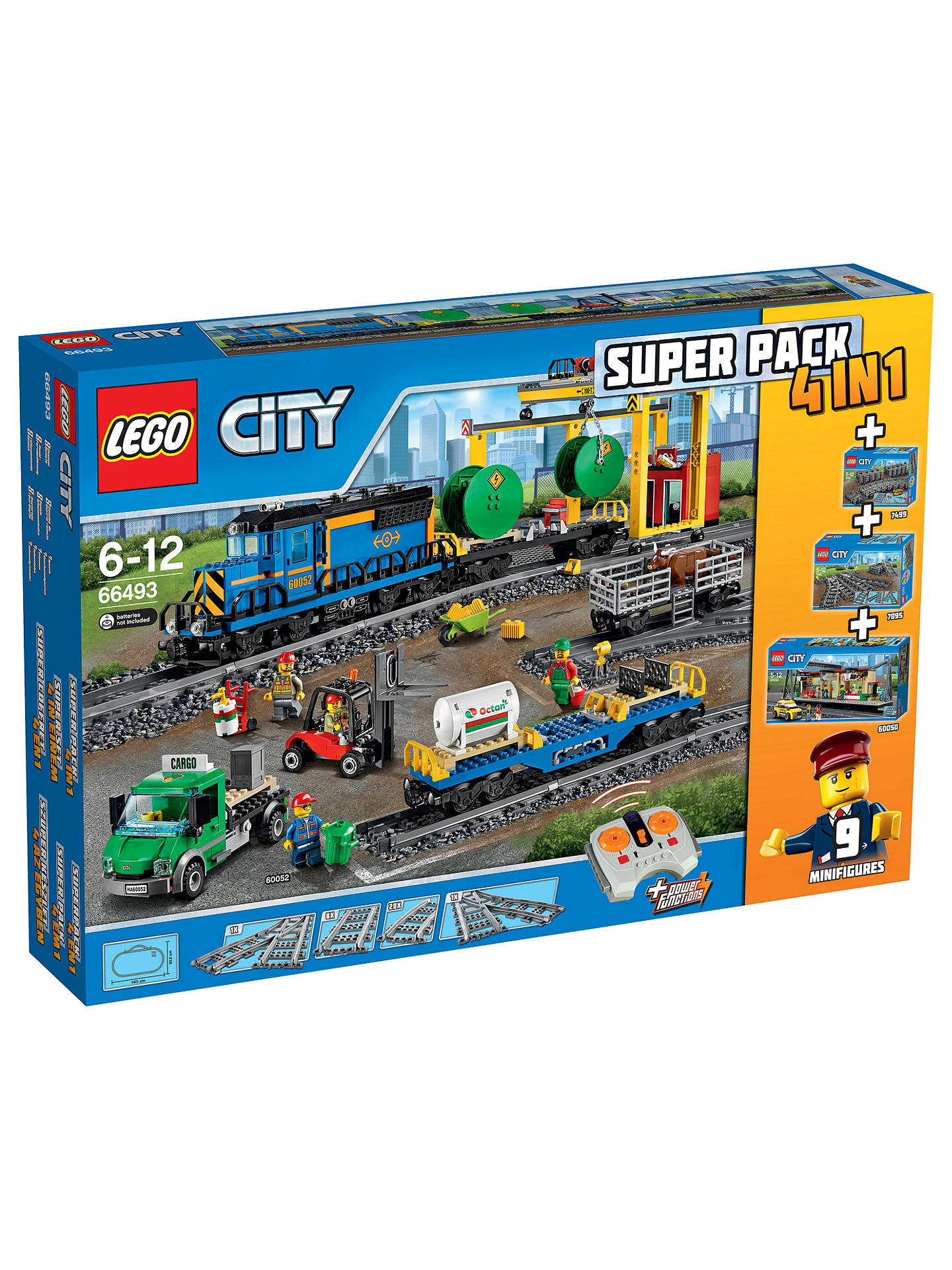 Lego City 66493 Remote Control Cargo Train Station Tracks And Power Functions 4 In 1 Super Pack At John Lewis Partners