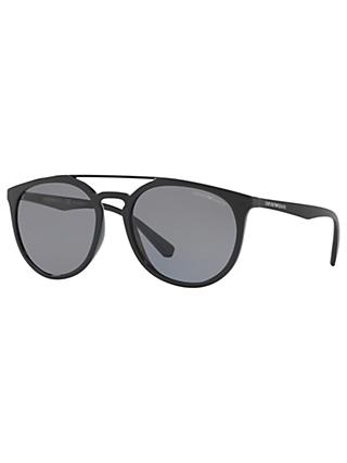 Emporio Armani EA4103 Polarised Oval Sunglasses, Black/Grey