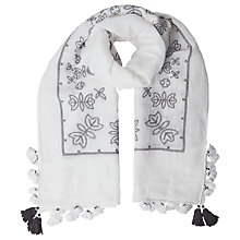 Buy White Stuff Japanese Cross Stitch Scarf, White Online at johnlewis.com