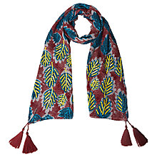 Buy White Stuff Dancing Leaves Scarf, Desert Red Online at johnlewis.com