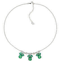 Buy Monet Small Glass Crystal Teardrop Necklace, Silver/Pacific Opal Online at johnlewis.com