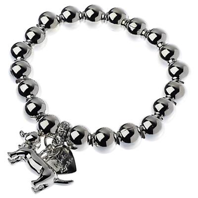 Adele Marie Dachshund Charm Beaded Stretch Bracelet, Silver