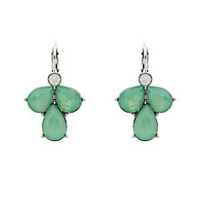 Buy Monet Glass Crystal Teardrop Leverback Drop Earrings, Silver/Pacific Opal Online at johnlewis.com