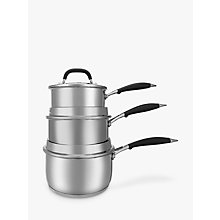 Buy John Lewis 'The Pan' Stainless Steel Saucepans With Lids Set, 3 Pieces Online at johnlewis.com
