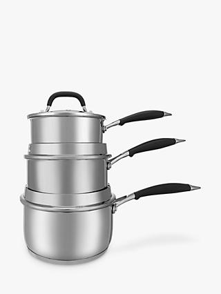 John Lewis & Partners 'The Pan' Stainless Steel Saucepans With Lids Set, 3 Pieces