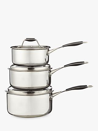 John Lewis & Partners 3-Ply Fusion Non-Stick Saucepans with Lids Set, 3 Piece