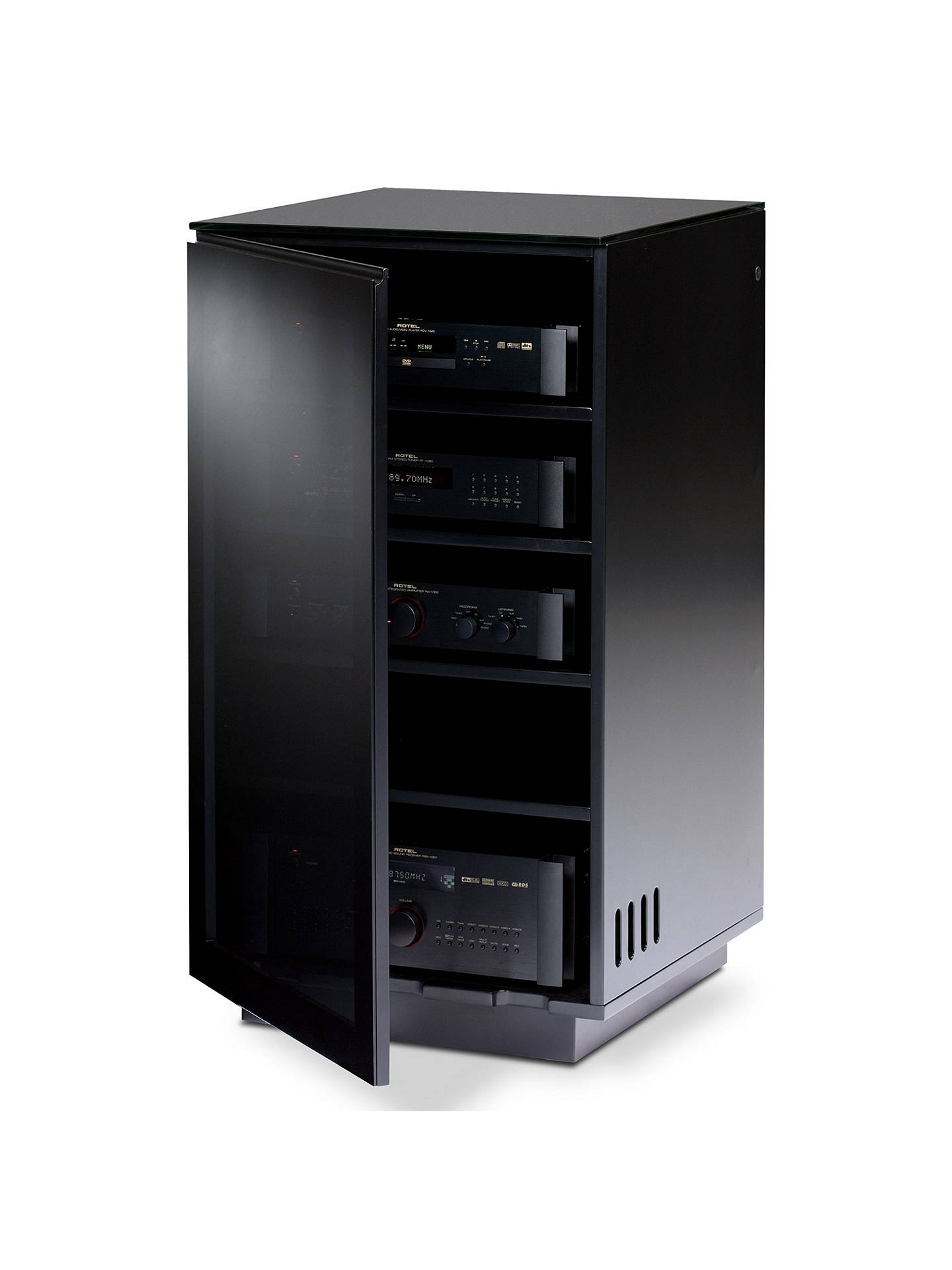 BuyBDI Mirage 8222 Audio Visual Tower Cabinet, Satin Black Online at johnlewis.com