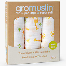 Buy Gro Company GroMuslin Large Muslin Cloths, Pack of 3, Dove Grey Online at johnlewis.com