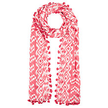 Buy Jigsaw Aztec Pom Scarf, Coral Online at johnlewis.com