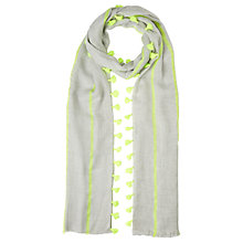 Buy Jigsaw Double Row Pom Pom Scarf, Lime Online at johnlewis.com
