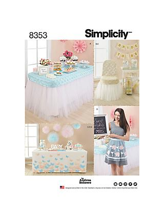 Simplicity Pattern Party Décor and Accessories, 8353