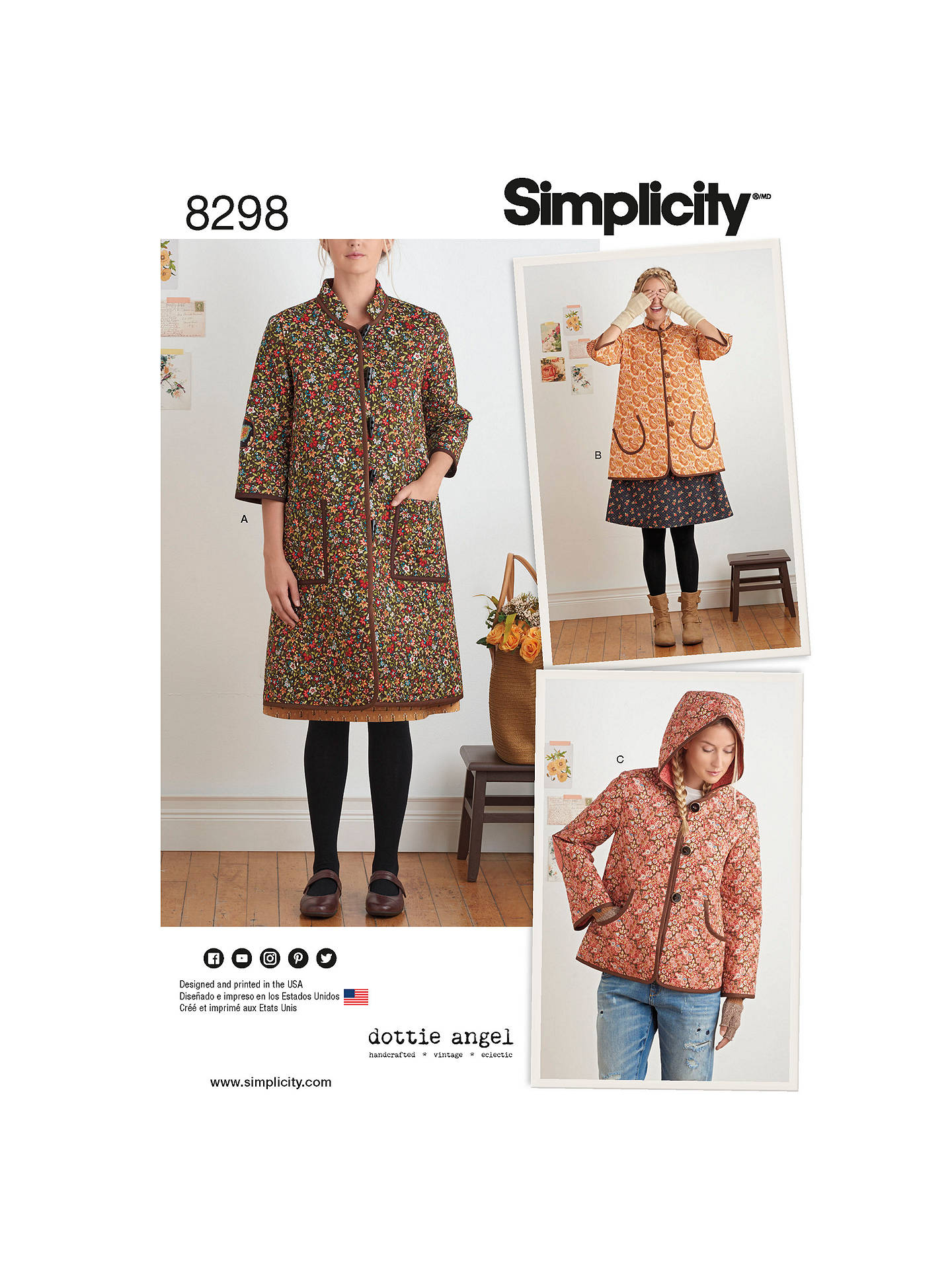1f710f714 Simplicity Women's Coat and Jacket Sewing Pattern, 8298