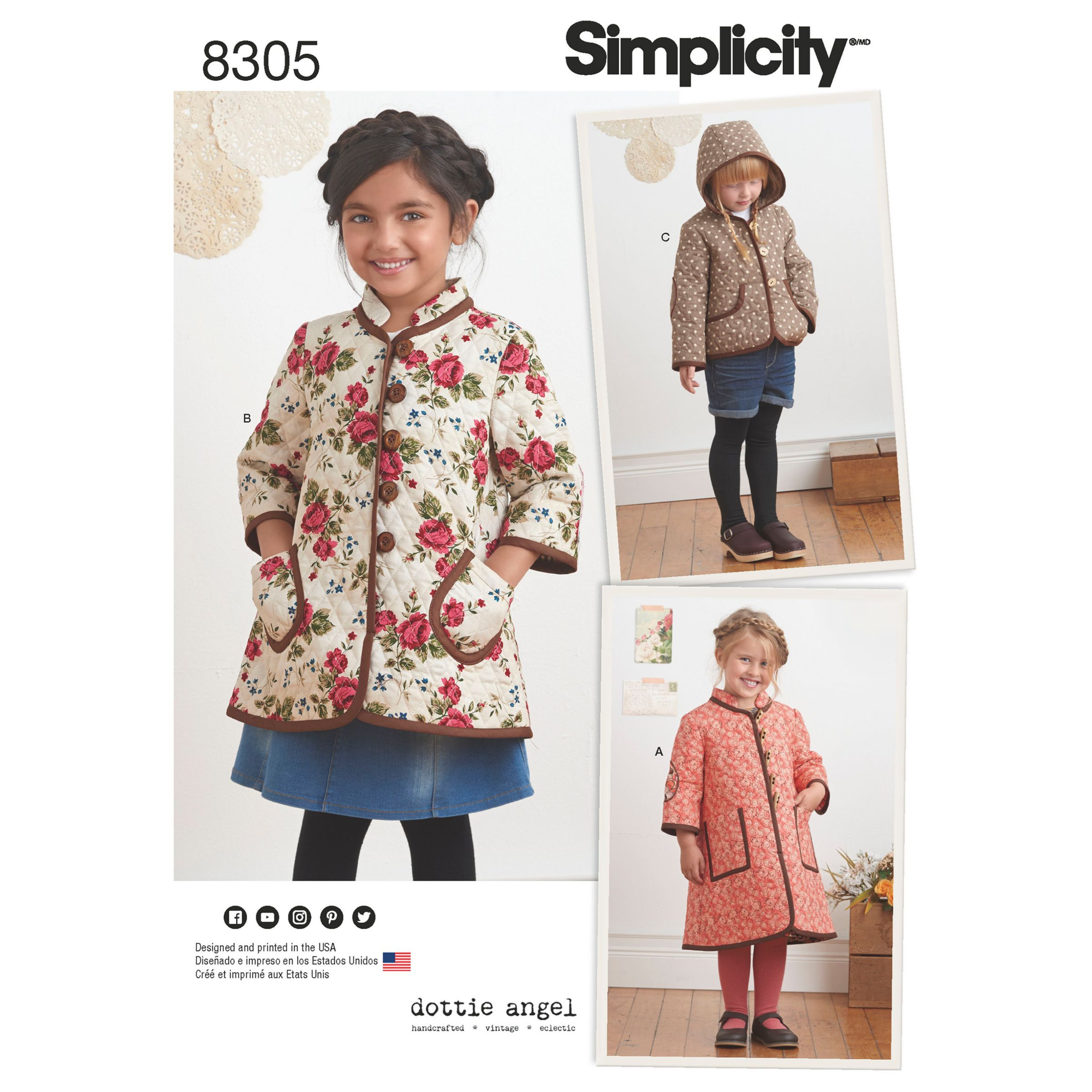 d5bd43c5e Simplicity Children's Coat and Jacket Sewing Pattern, 8305
