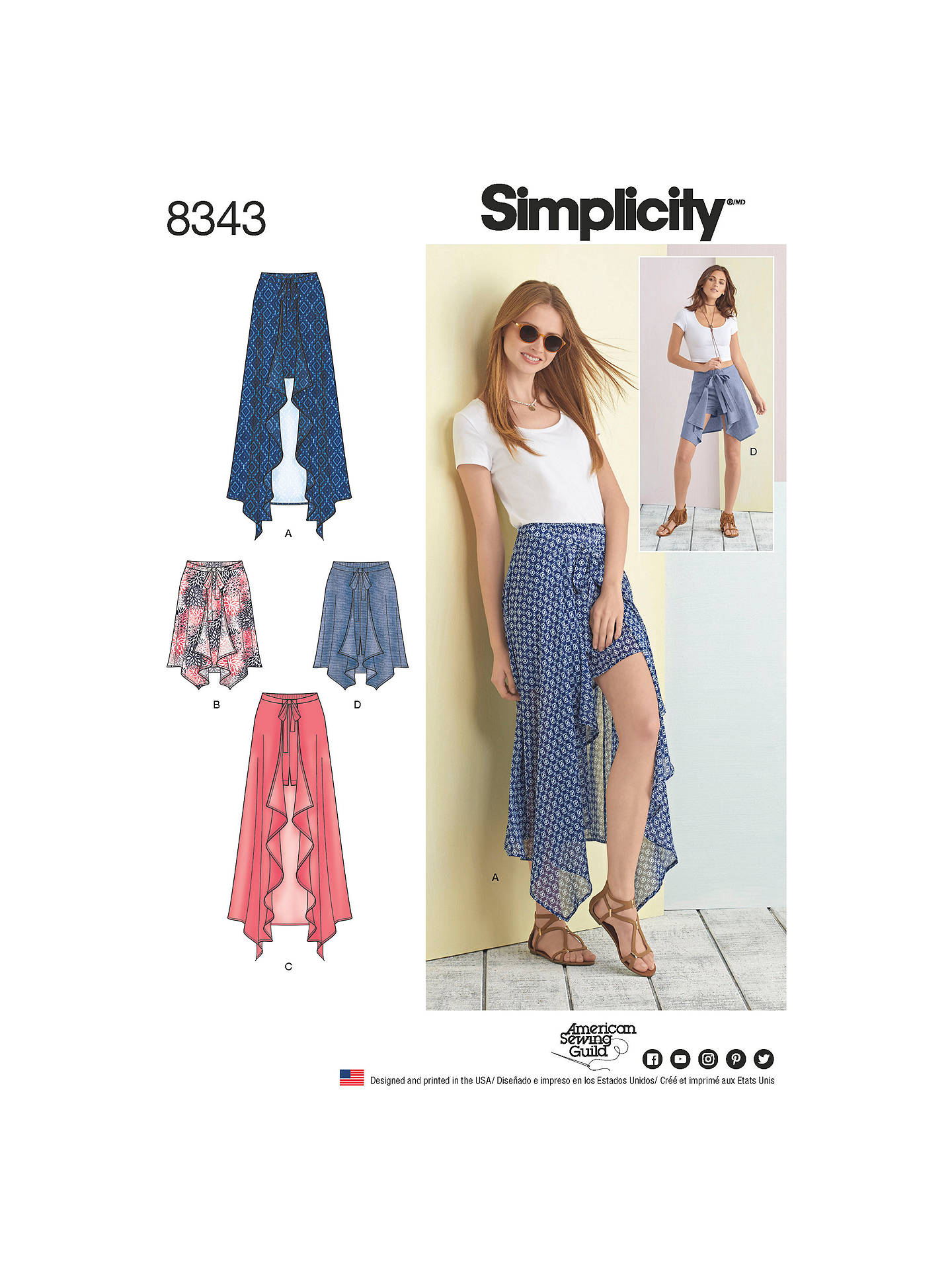 Simplicity Women\'s Wrap Skirt and Shorts Sewing Pattern, 8343 at ...