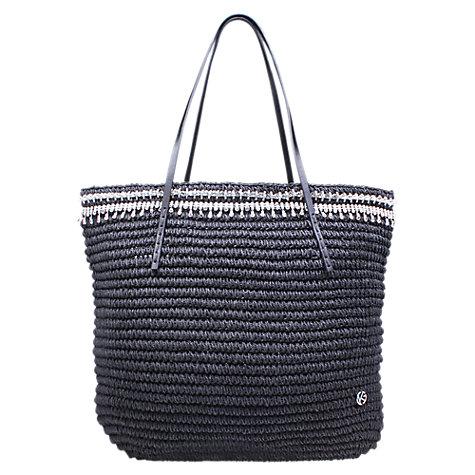 Black Kurt Geiger Diamante Raffia Tote Bag