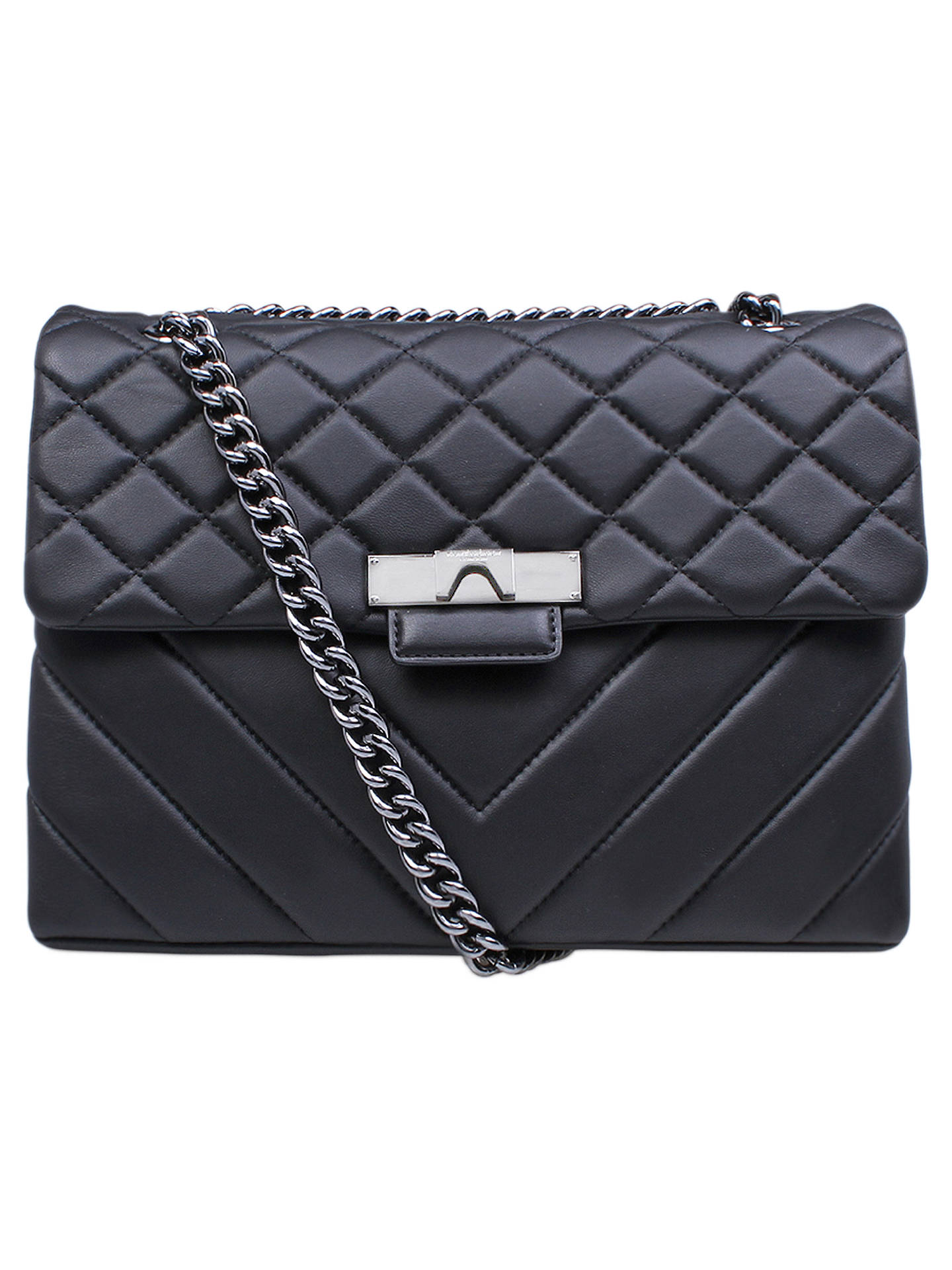 e93993789d3 Buy Kurt Geiger London Kensington Leather Large Cross Body Bag,  Black/Silver Online at ...
